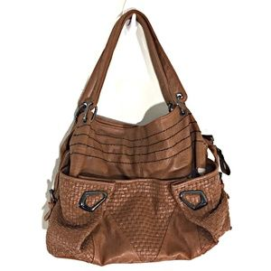 Boutique Brand Handbag Tan Textured Leather Purse